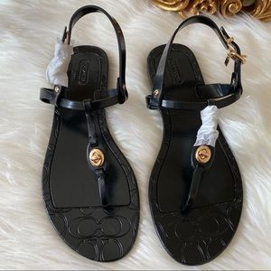 Coach Pier T Strap Black Jelly Sandals New